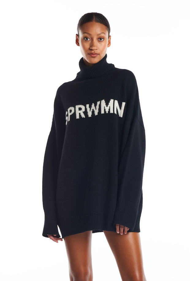 Black Cashmere Logo Turtleneck Sweater