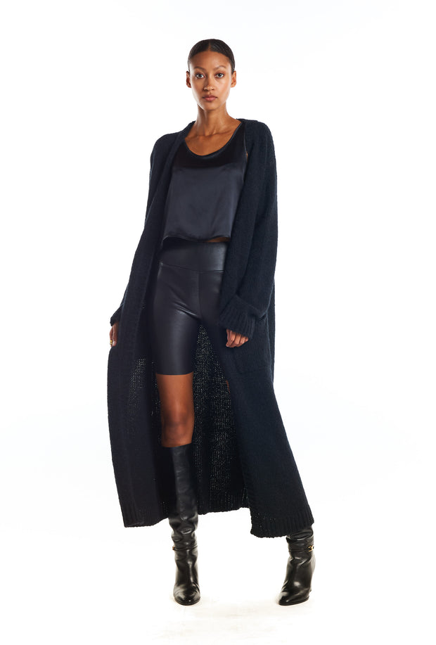 Black Long Cashmere Cardigan