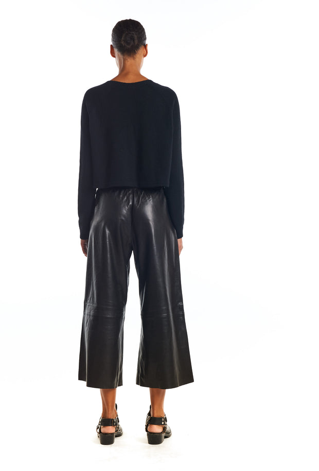 Black Leather Culotte Pants