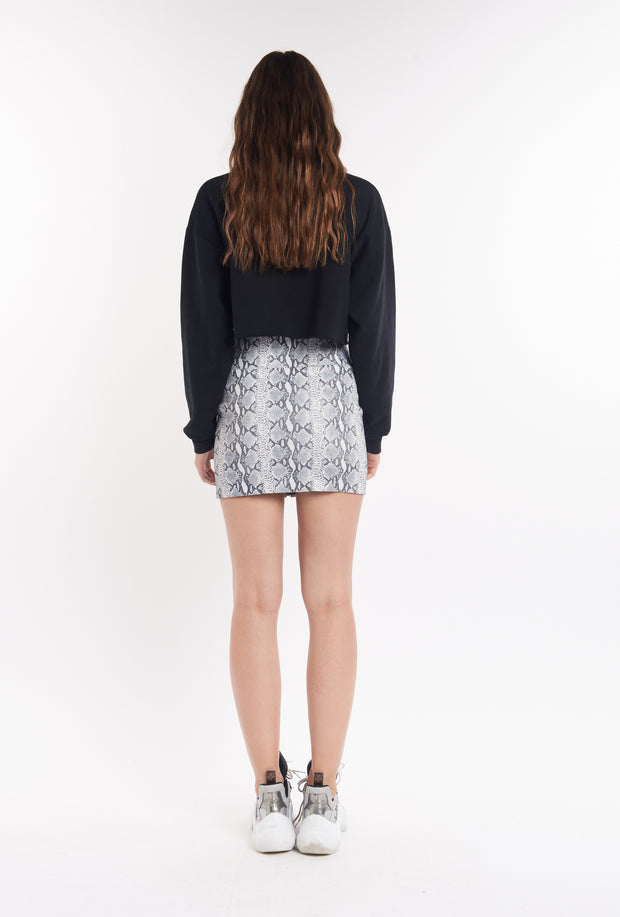 Grey Snake Front Zip Mini Skirt