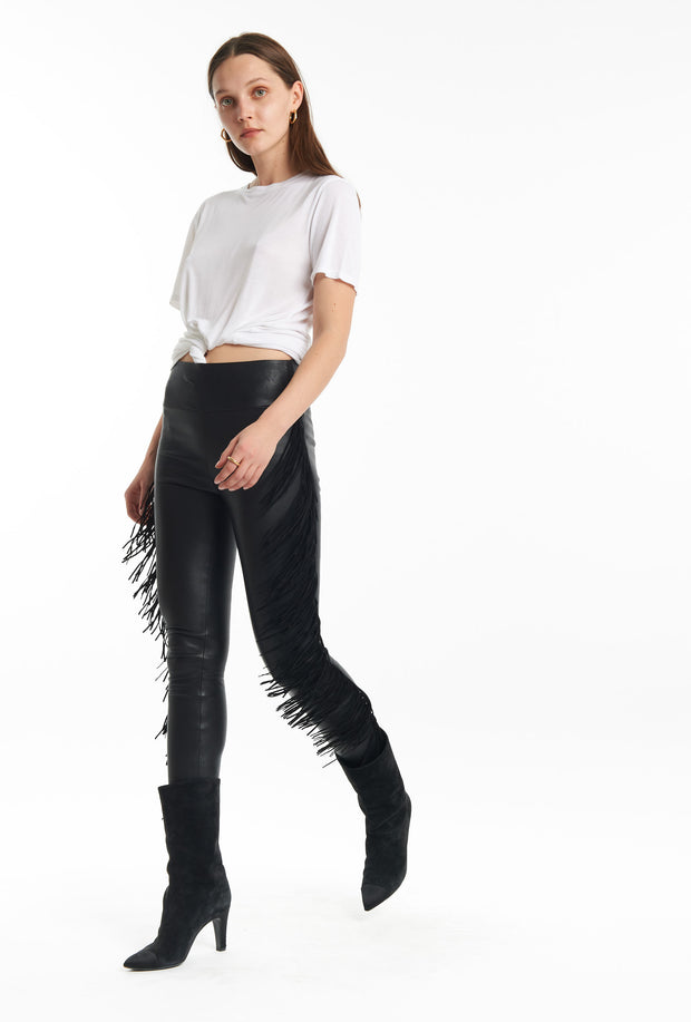 Black Fringe Ankle Leather Legging