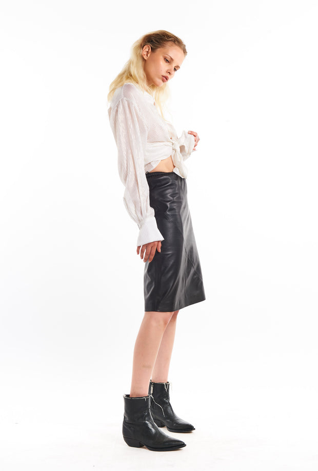 Black Leather Slip Skirt