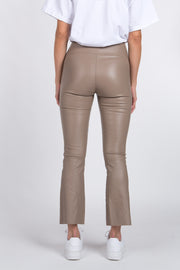 Taupe Crop Flare Leather Legging