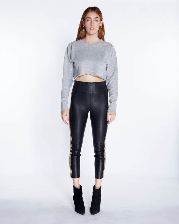 Athletic 3 Stripe Capri Leather Legging with Black-Gold, Front