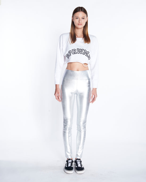 Ankle Leather Legging in Metallic Silver, Front