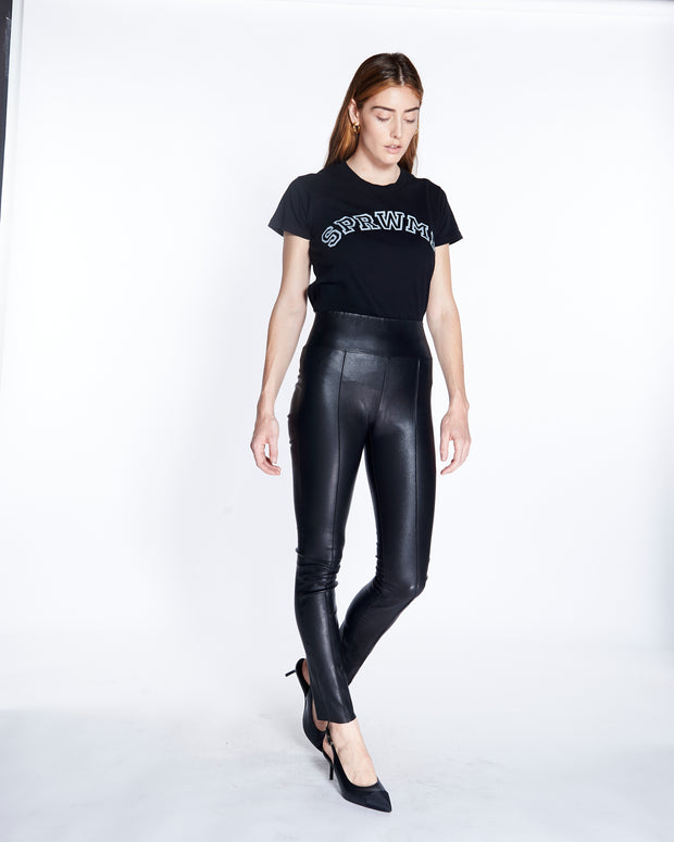 Pintuck Ankle Leather Legging in Black, Front