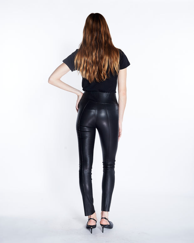 e43edd754 SPRWMN Pintuck Ankle Leather Leggings in Black