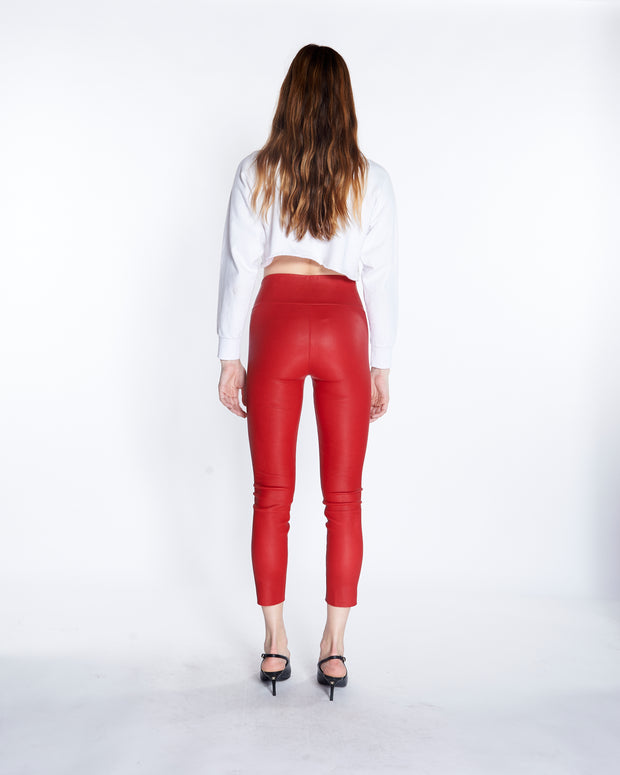 Athletic Capri Leather Legging in Red, Back