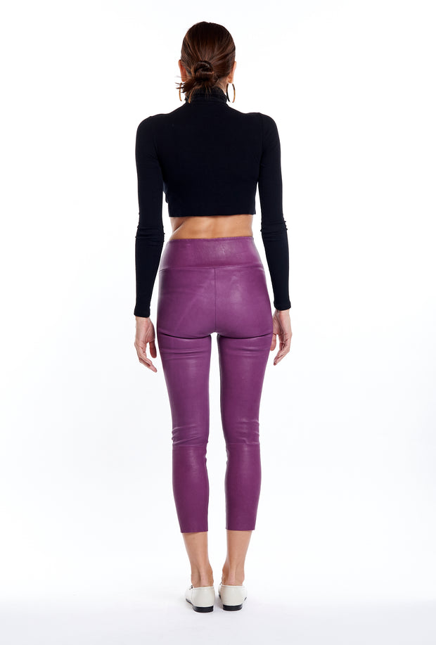 Magenta Ankle Leather Legging