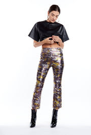 Purple, Gold and Silver Metallic Crop Flare Legging