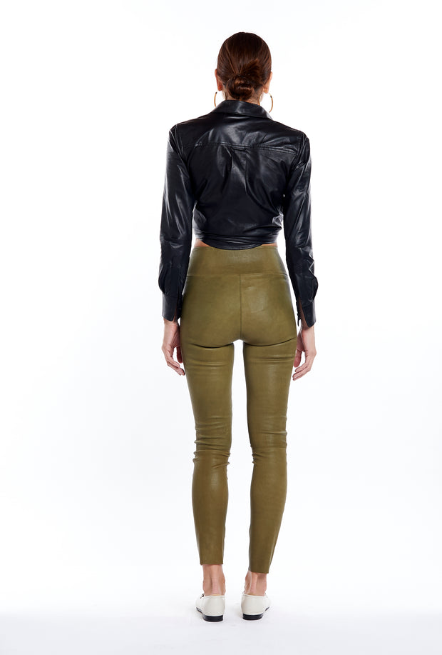 Olive Leather Ankle Legging