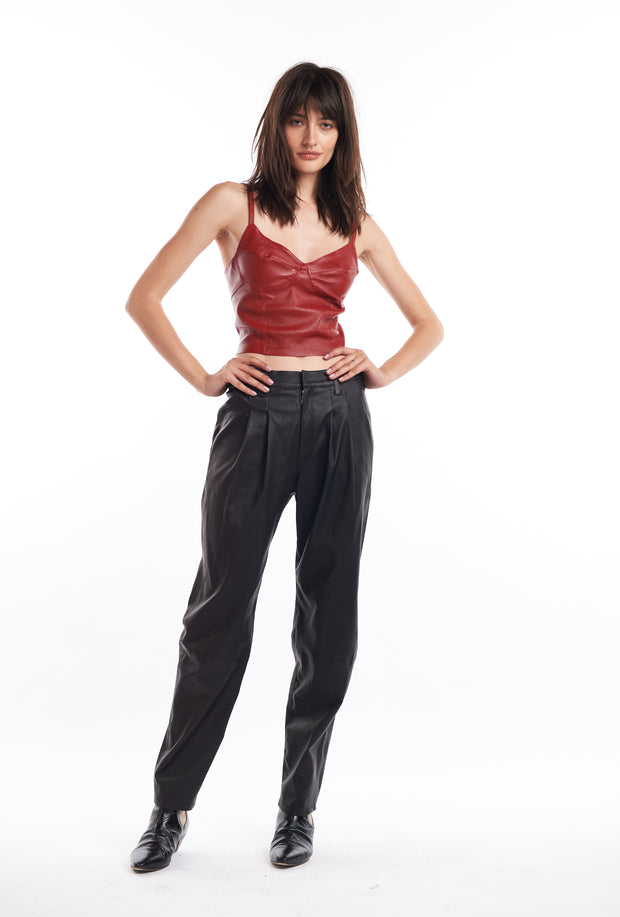 Black Tailored Leather Trouser Pant