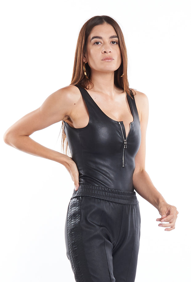 Black Leather Bodysuit SPRWMN, Front