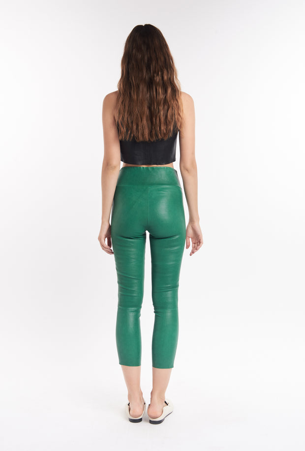 Evergreen Leather Athletic Capri Legging