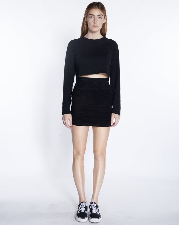Black Suede Mini Skirt SPRWMN, Front