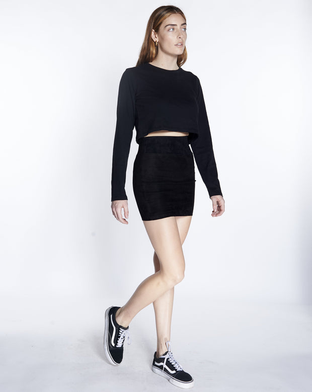 Black Suede Mini Skirt SPRWMN, Side