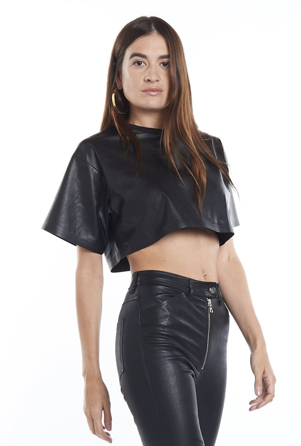 Leather Crop Tank in Black SPRWMN, Front
