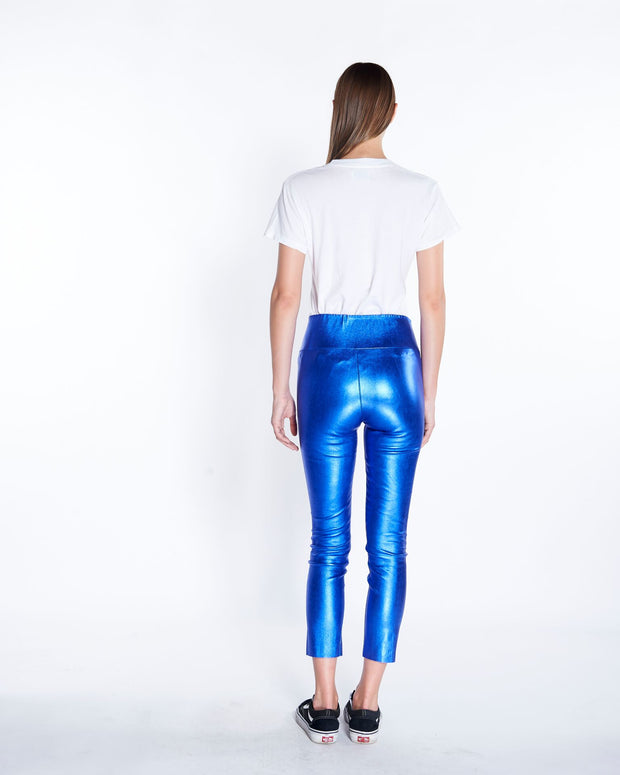 Leather Capri Legging in Blue Metallic, Back