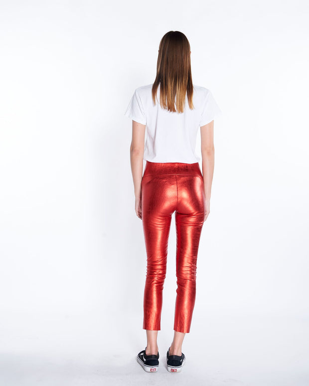Capri Leather Legging in Metallic Red , Back