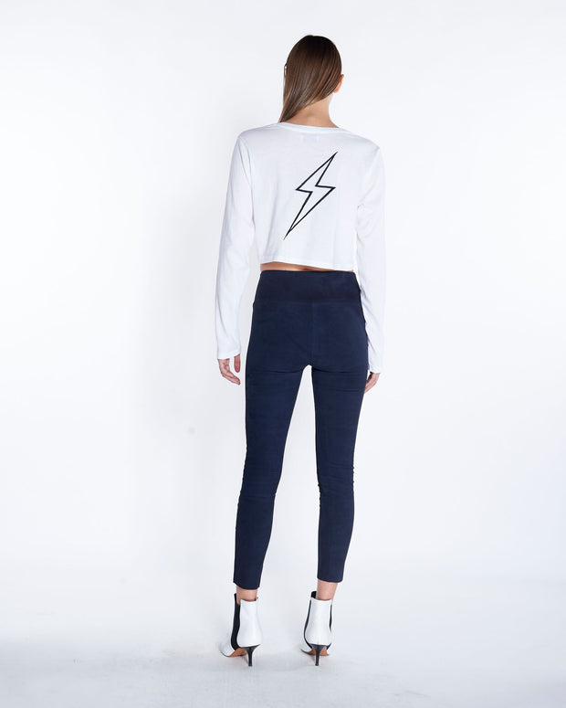Capri Suede Legging in Navy, Back