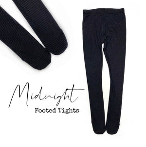 Midnight ribbed footed tights