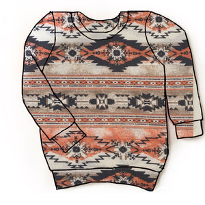 Coral Aztec pullover
