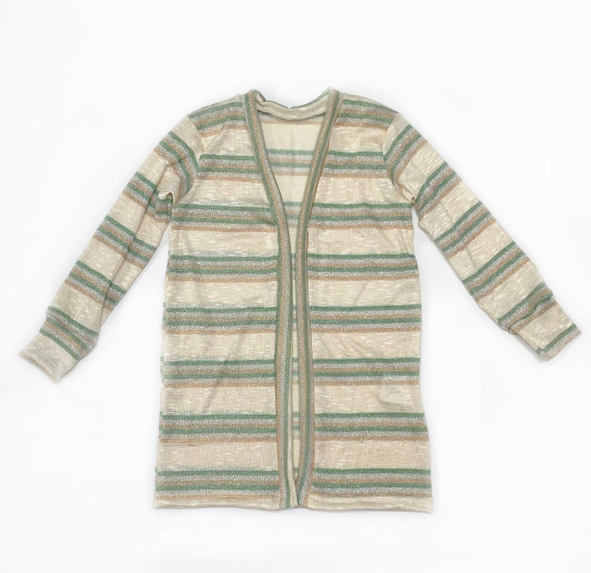 Green and Gold glitter striped duster