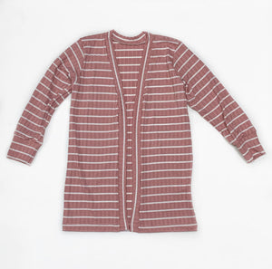 Dusty rose striped ribbed knit duster