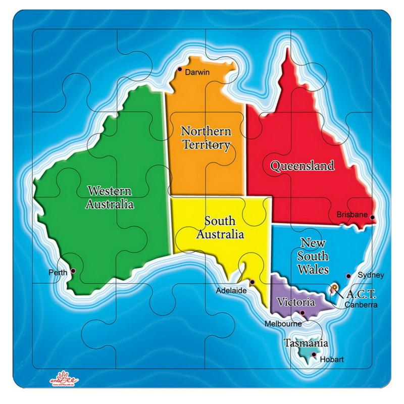 andZee Map of Australia States Puzzle