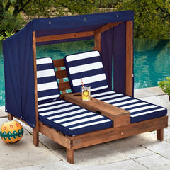 Double Chaise Lounge - Espresso & Navy