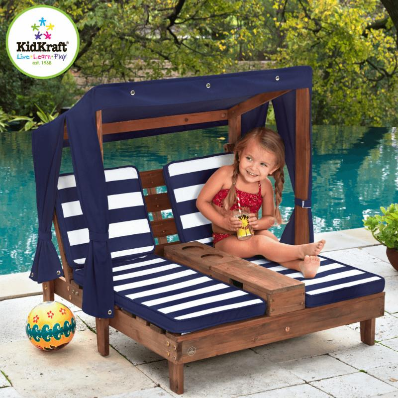 KidKraft Double Chaise Lounge - Navy & White