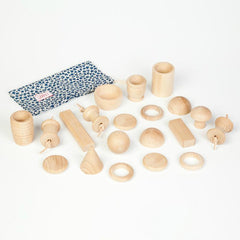 Treasure Bag with 20 Natural Wooden Pieces