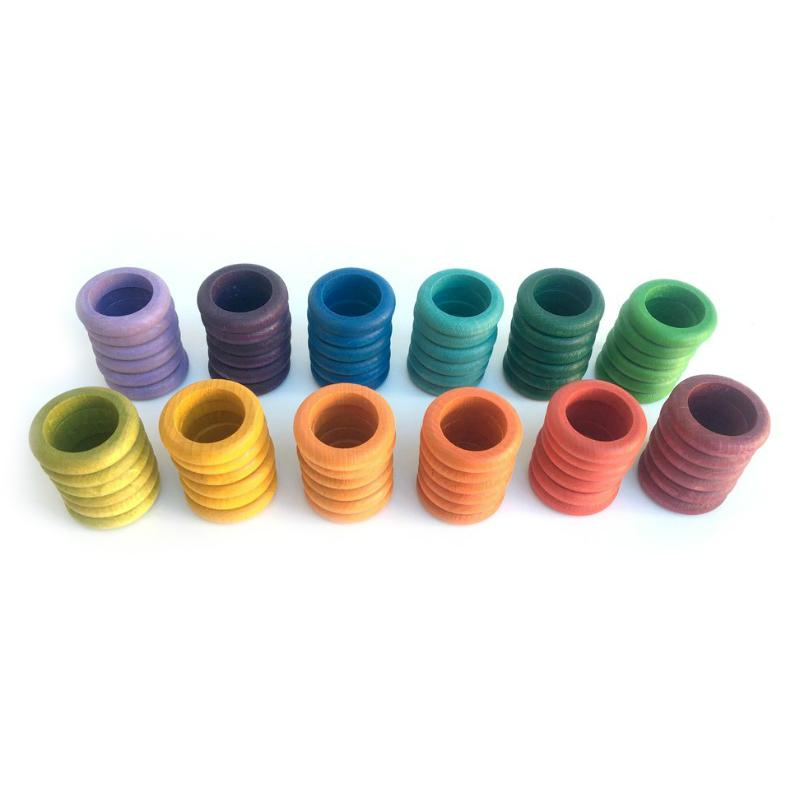 Grapat Coloured Rings in 12 Colours (Set of 72)