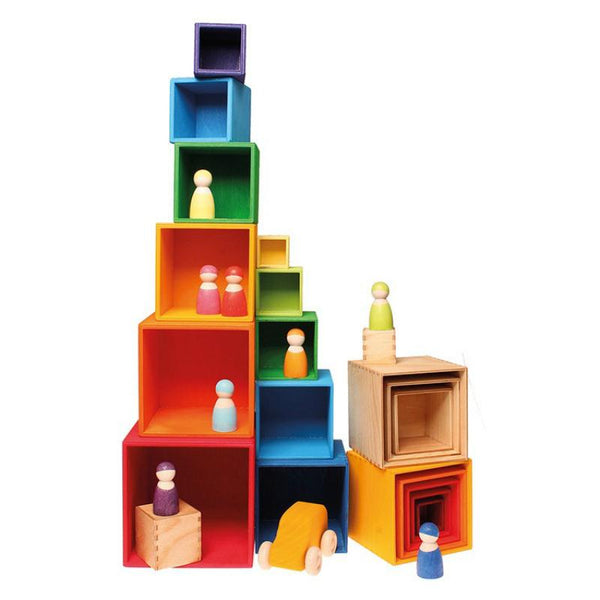 Grimm S Stacking Boxes Rainbow Wooden Nesting Boxes