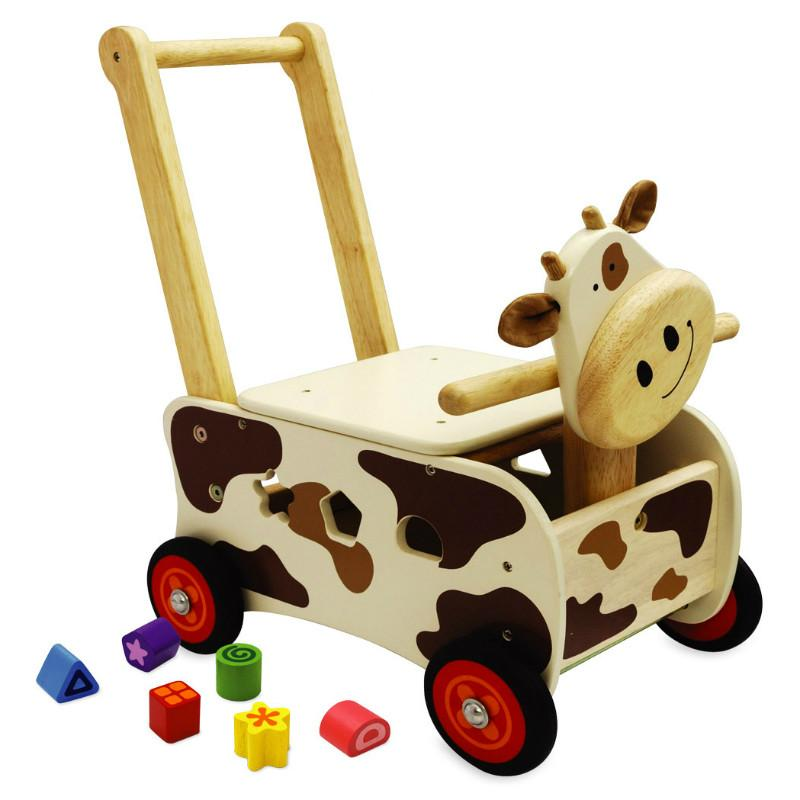 I M Toy Walk Amp Ride Cow Sorter Wooden Walker Amp Ride On