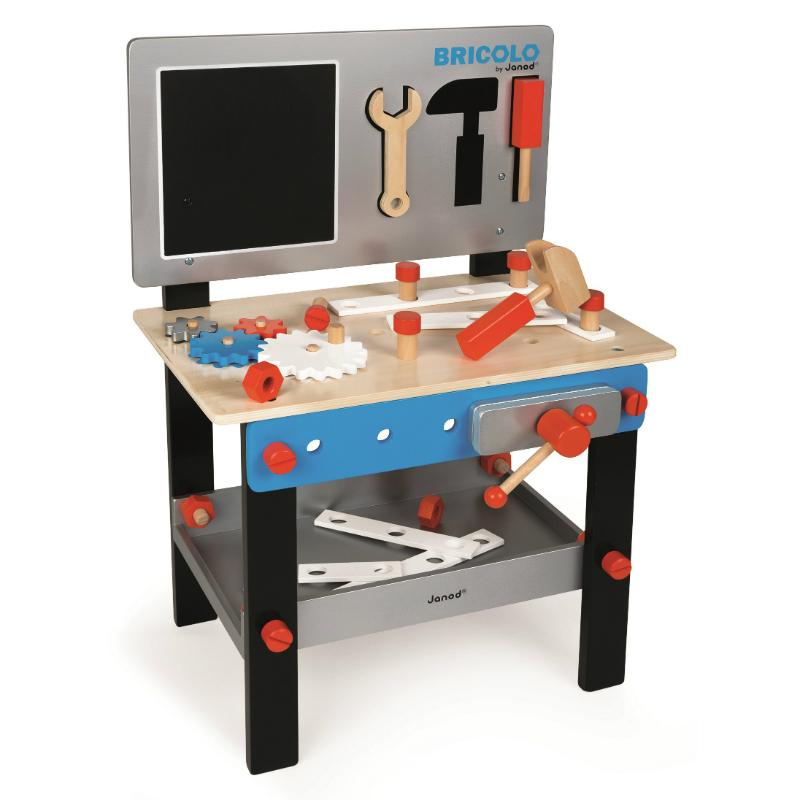 Janod Diy Magnetic Workbench Blue Kids Wooden Tool Bench