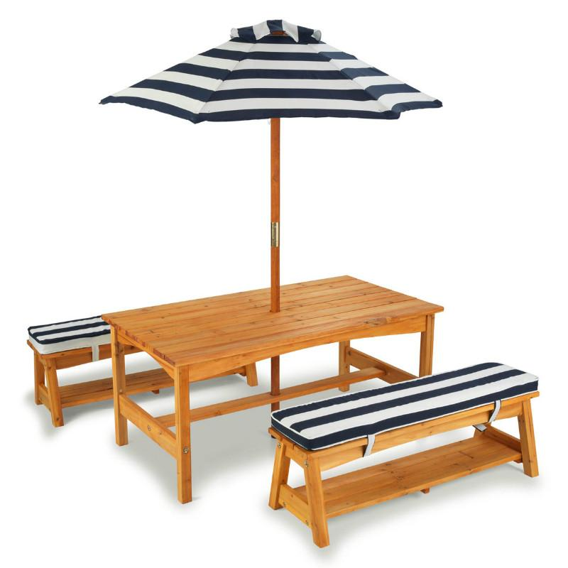 Outdoor Table & Bench Set - Navy