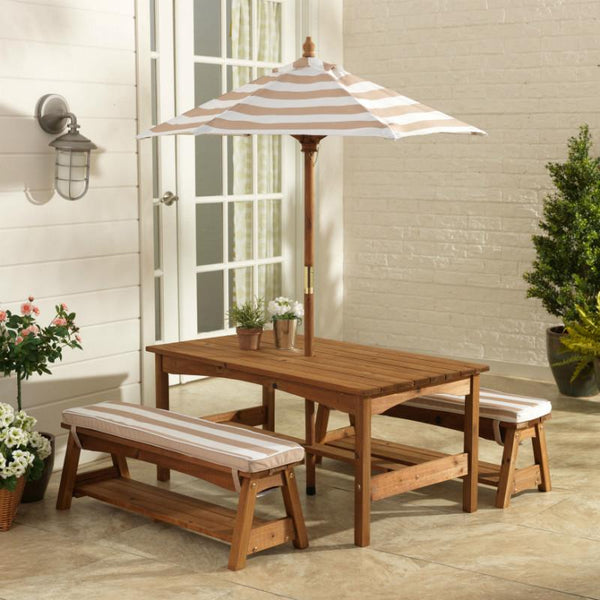Kidkraft Outdoor Table Amp Bench Set Oatmeal Wooden Kids