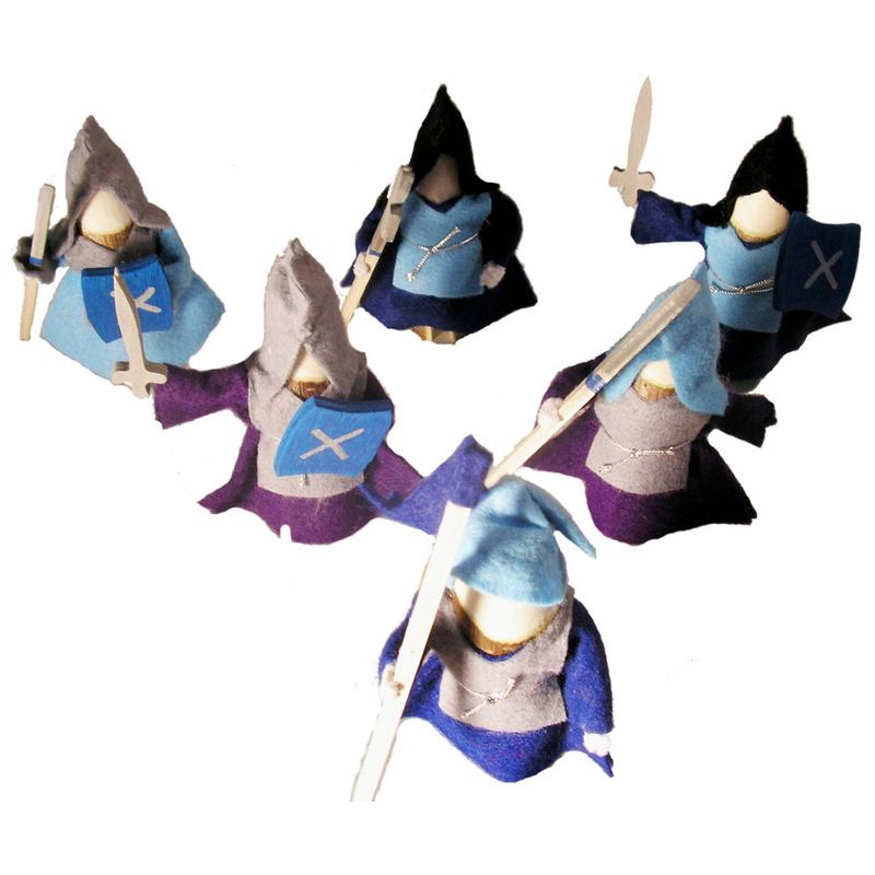 Knights Set of 6 Blue