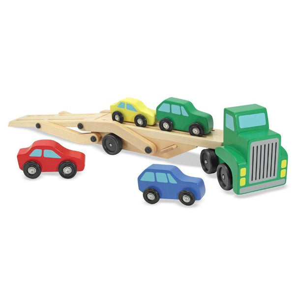 Melissa Amp Doug Car Carrier Green Wooden Tow Truck Toy