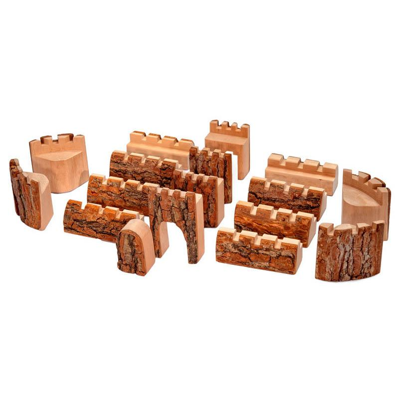 Natural Wood Castle Blocks 16 Pieces