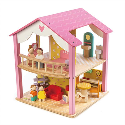 Tender Leaf Toys Pink Leaf Doll House with Furniture