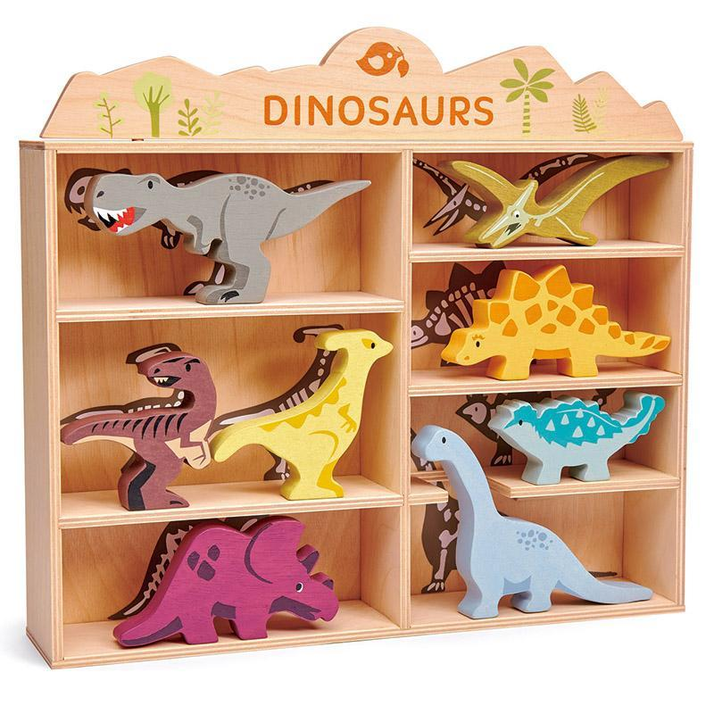Wooden Dinosaurs with Display
