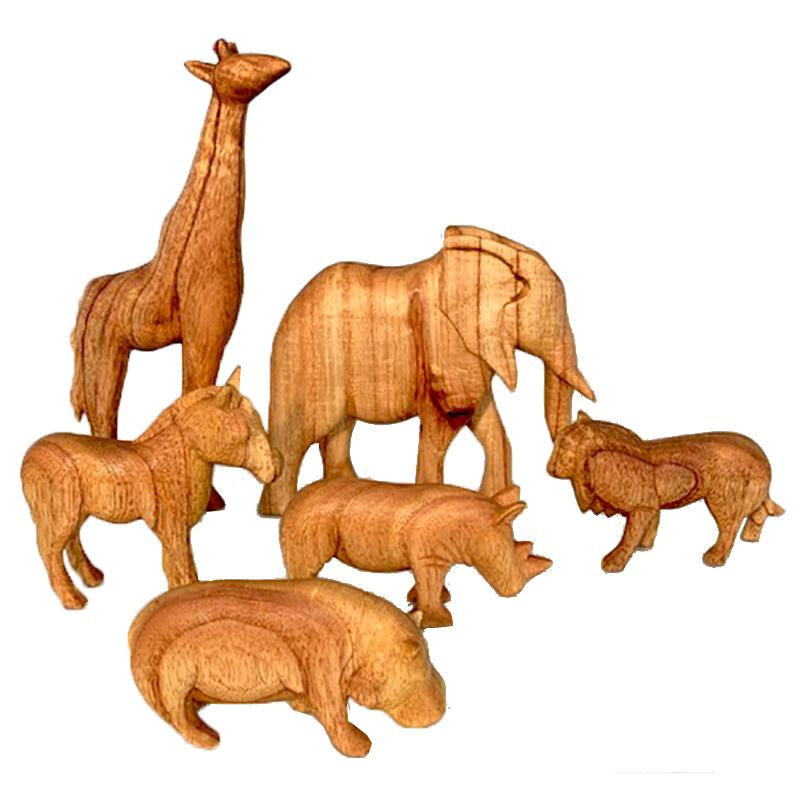 Papoose African Animals Natural 6 Pieces