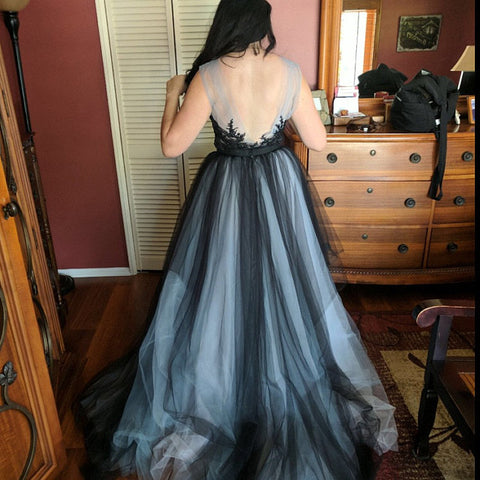 CHIC A-LINE SCOOP BLACK APPLIQUE TULLE EVENING DRESS WEDDING DRESS AM936