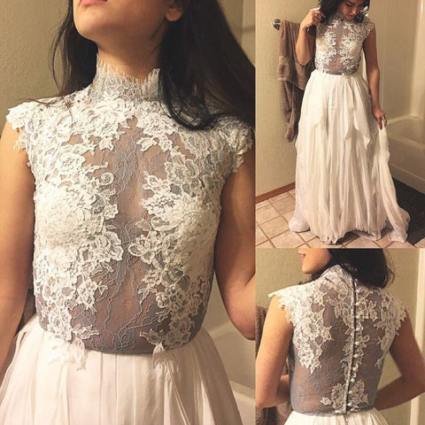 A-line Scoop Prom Dress Gray Chiffon Floor Length Lace Long Prom Dresses Evening Dress AMY1616