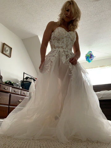 ROMANTIC SWEETHEART WEDDING DRESS LACE BOHEMIO WEDDING GOWNS ELEGANT BRIDAL GOWNS AMY2704