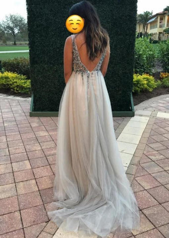 2018 Chic A line Prom Dresses Deep V neck Silver Beading Prom Dress Evening Dresses AMY542
