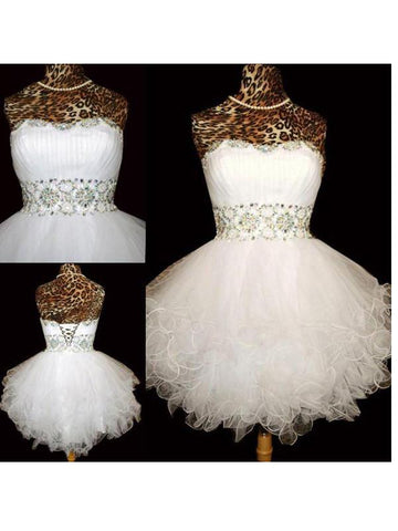 PROM DRESSES BALL GOWN,WHITE A-LINE SWEETHEART SHORT MINI TULLE HOMECOMING DRESS SHORT PROM DRESSES SP8137