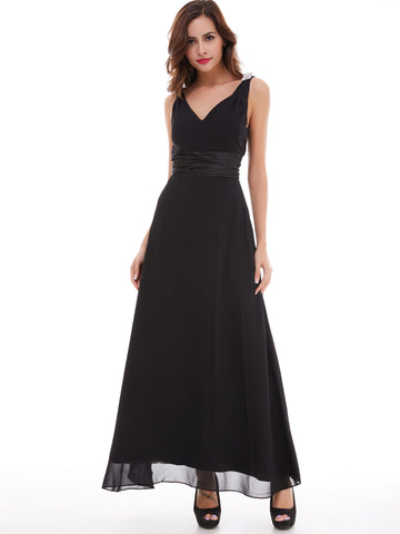 Chic Prom Dresses Long Black Simple A line Straps V neck Prom Dress Party Dresses 173388